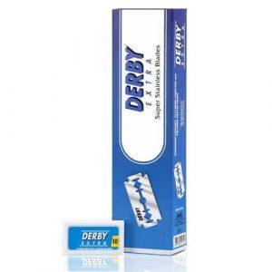 Двусторонние сменные лезвия для бритья Derby Extra Blue.