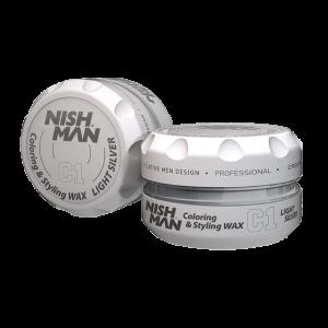 Цветной крем-воск на водной основе средней фиксации NISHMAN C1 LIGHTSILVER 100 мл